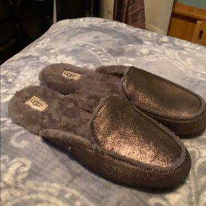 UGG metallic gunmetal shearling slipper mule shoes